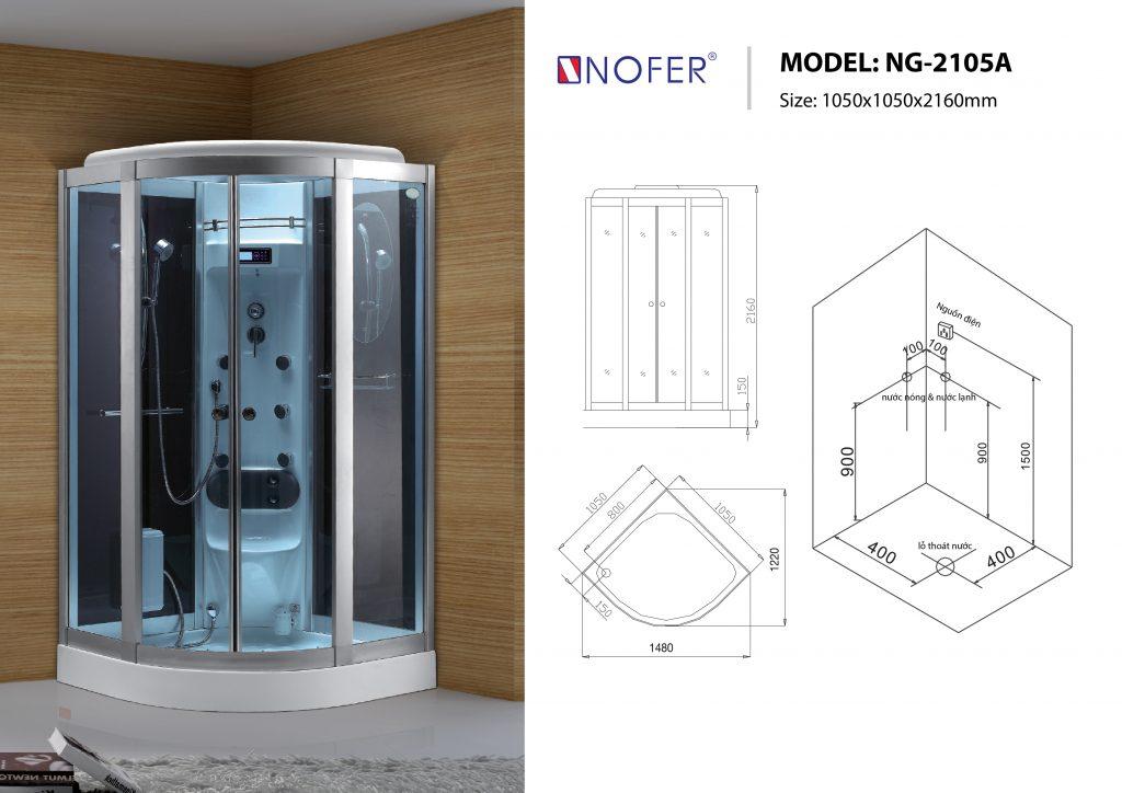 Bản vẽ sơ đồ kỹ thuật phòng xông hơi NG-2105A