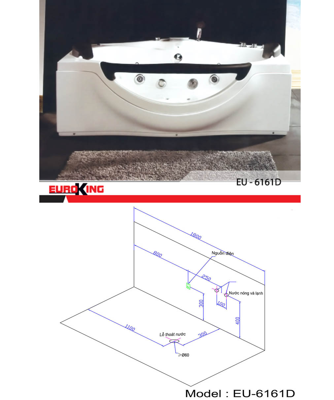 Bản vẽ kỹ thuật của bồn tắm massage EU-6161D