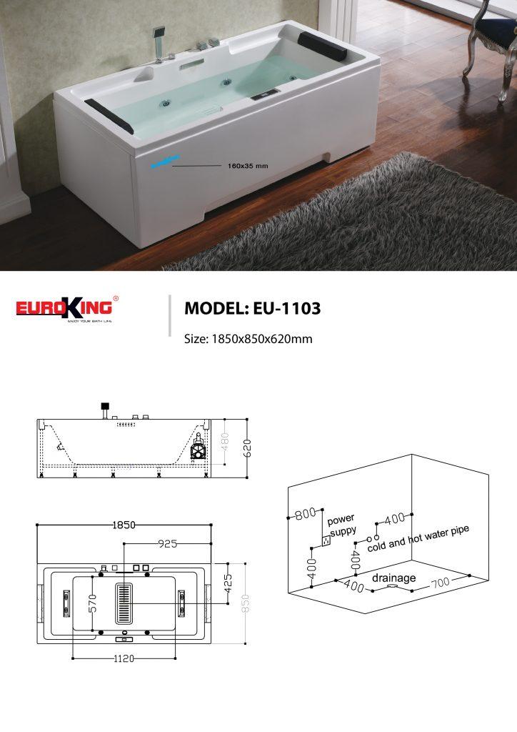 Bản vẽ kỹ thuật bồn tắm massage EU-1103