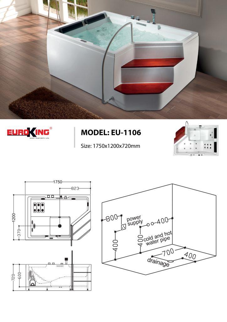 Bản vẽ sơ đồ kỹ thuật bồn tắm massage EU - 1106