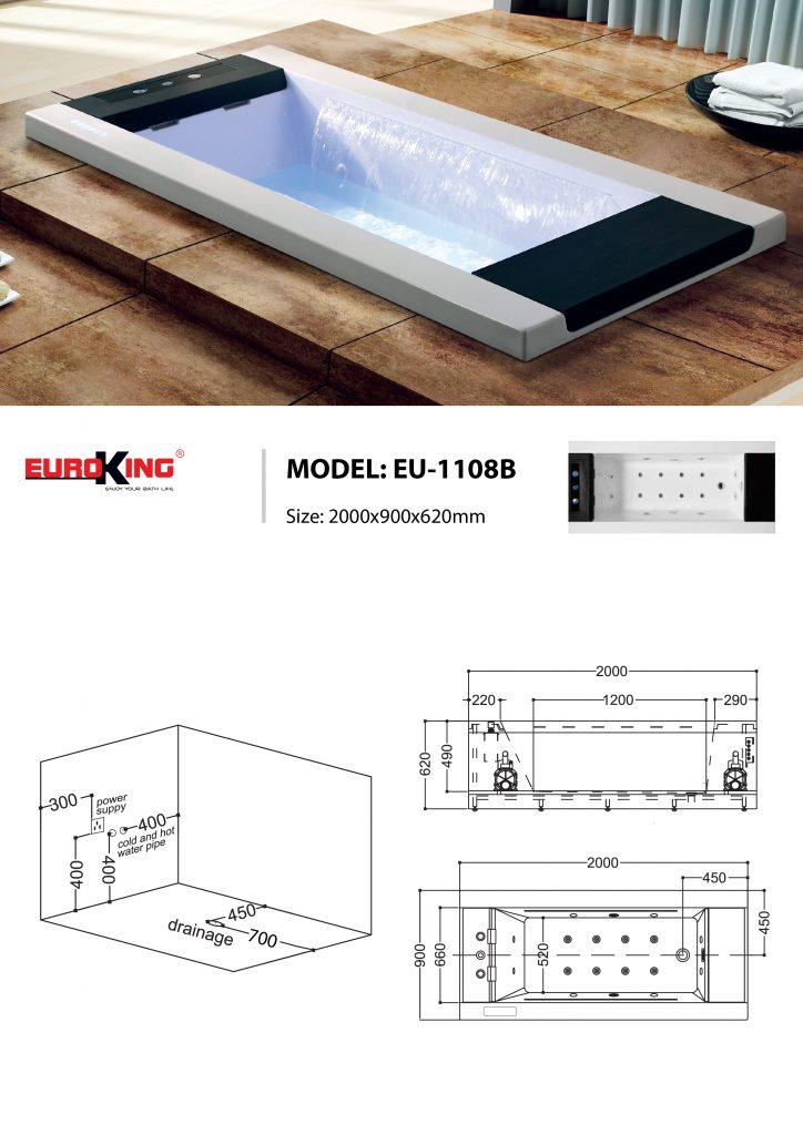 Bản vẽ kỹ thuật của bồn tắm massage EU-1108B
