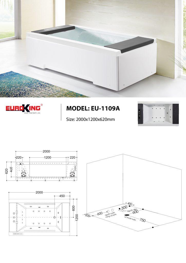 Bản vẽ kỹ thuật bồn tắm massage EU-1109A