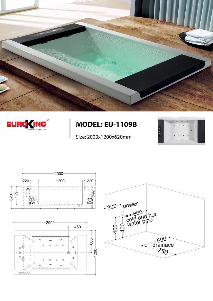 Bản vẽ kỹ thuật bồn tắm massage EU-1109B