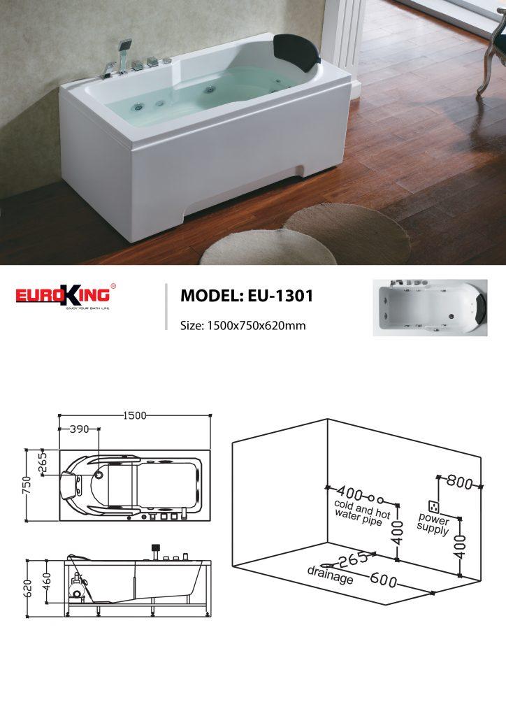 Sơ đồ kĩ thuật bồn tắm massage EU-1301