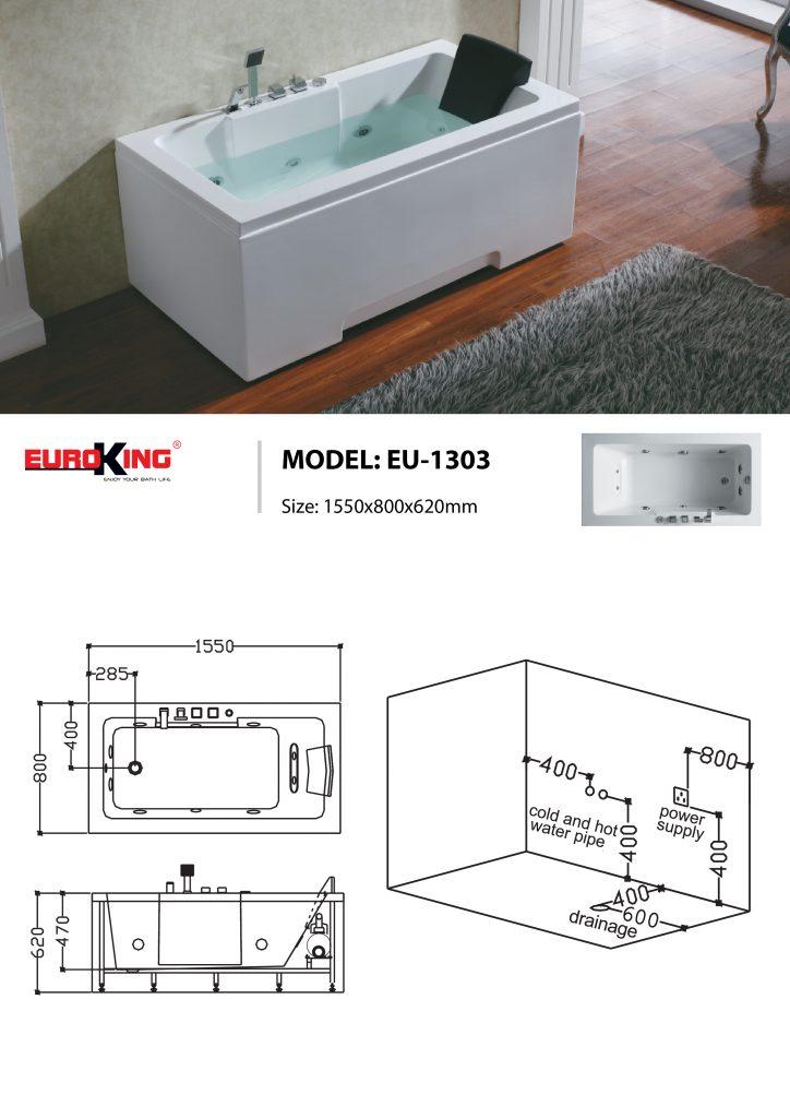 Sơ đồ kĩ thuật bồn tắm massage EU-1303
