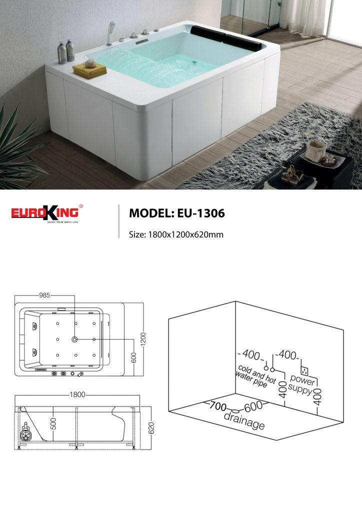 Bản vẽ kỹ thuật của bồn tắm massage EU-1306