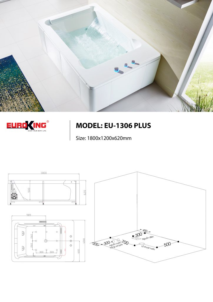 Bản vẽ kỹ thuật bồn tắm massage EU-1306 PLUS