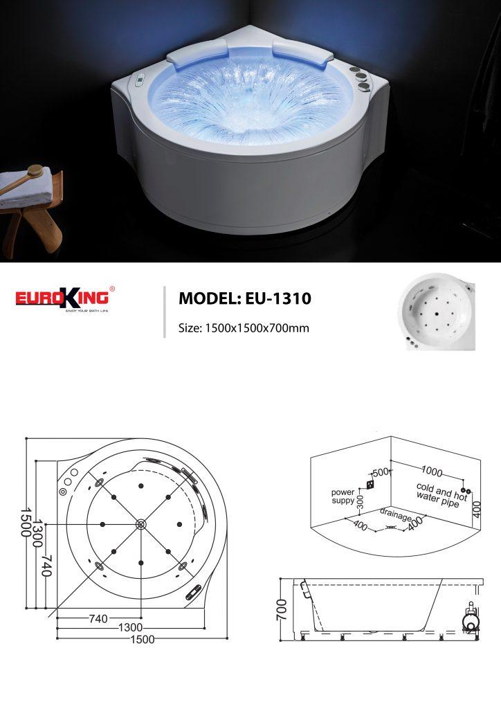 Bản vẽ kỹ thuật bồn tắm massage EU-1310
