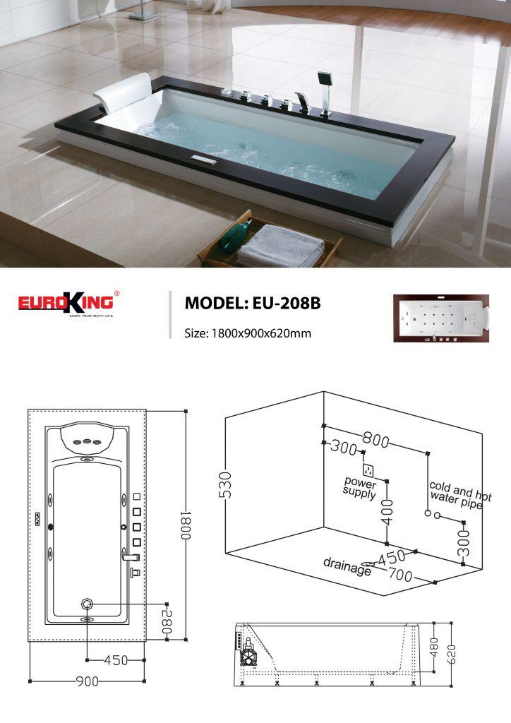 Bản vẽ kỹ thuật bồn tắm massage Euroking EU-208B