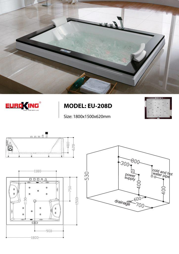Bản vẽ sơ đồ kỹ thuật bồn tắm massage EU - 208D