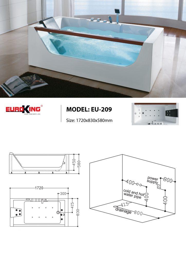 Bản vẽ sơ đồ kỹ thuật bồn tắm massage EU - 209