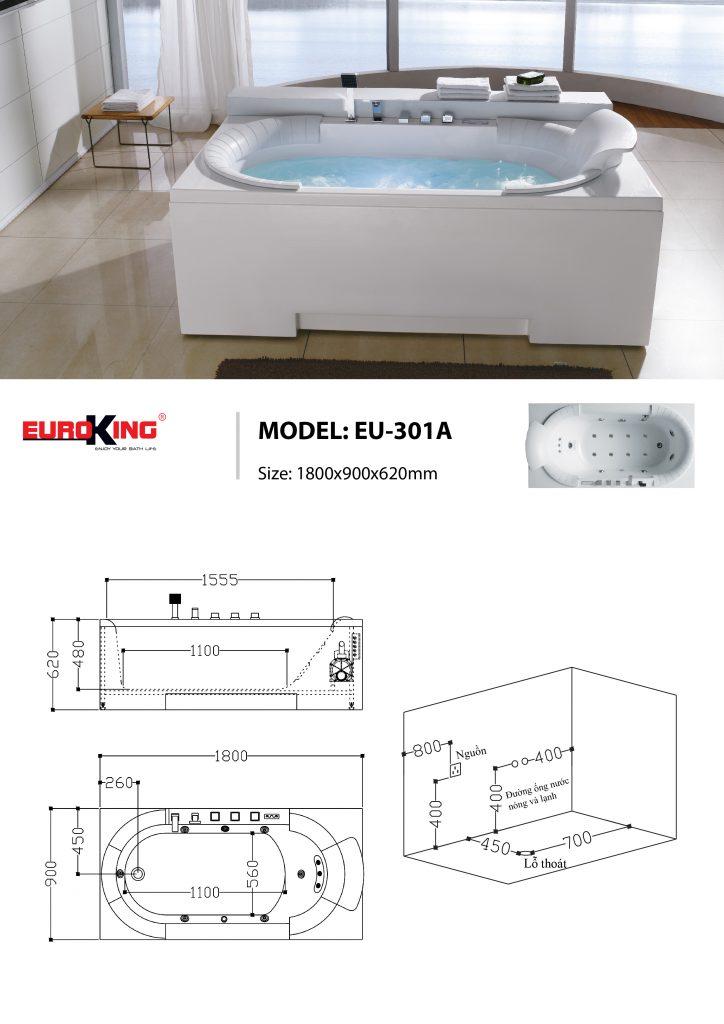 Bản vẽ sơ đồ kỹ thuật bồn tắm massage EU - 301A