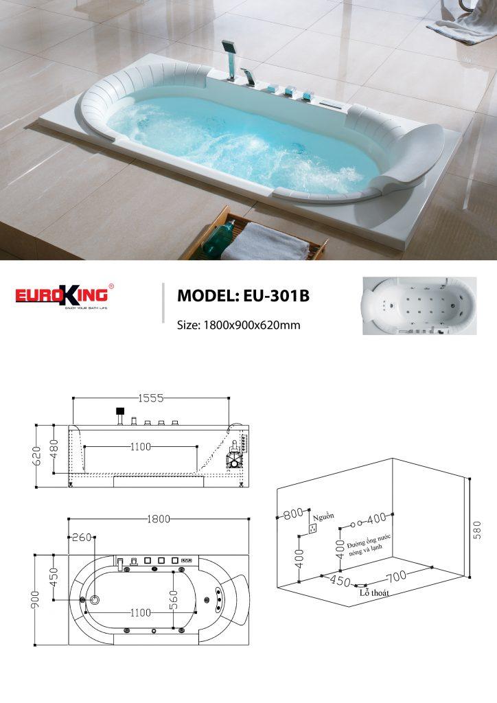 Bản vẽ kỹ thuật bồn tắm massage EU-208.