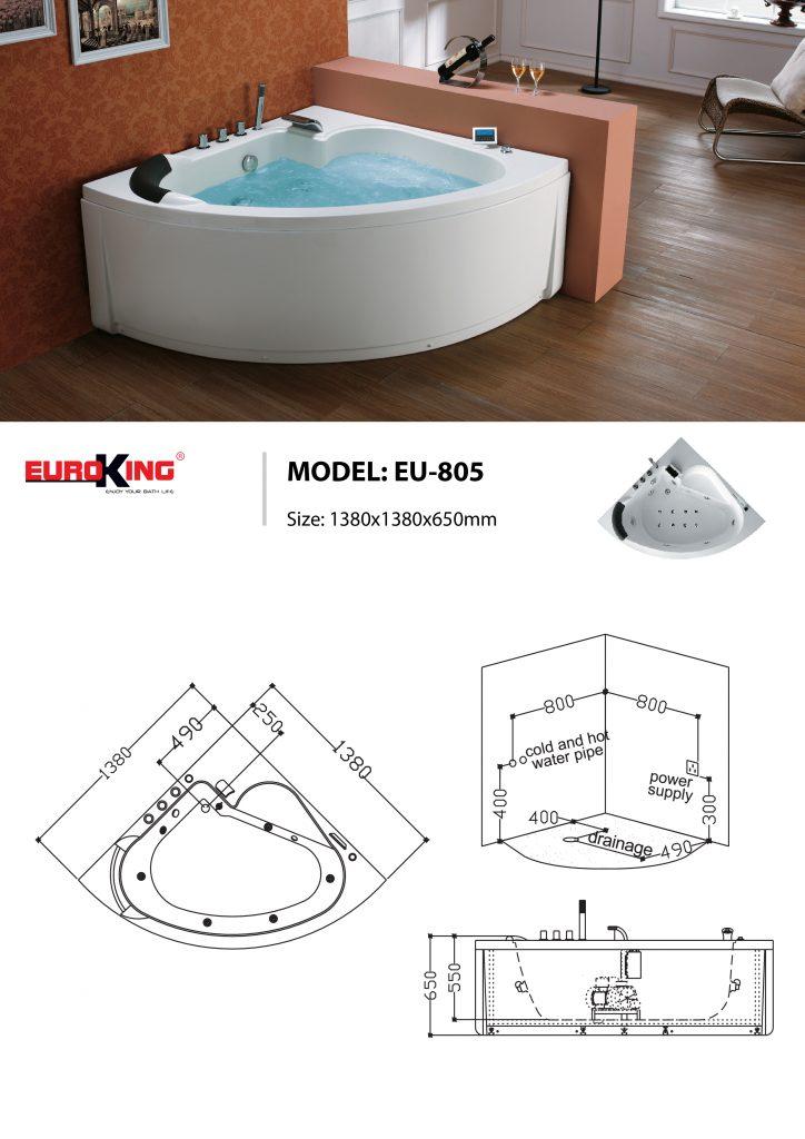 Bản vẽ sơ đồ kỹ thuật bồn tắm massage EU - 805