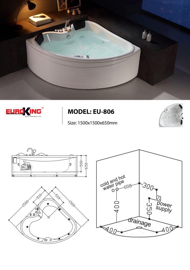 Bản vẽ sơ đồ kỹ thuật bồn tắm massage EU - 806