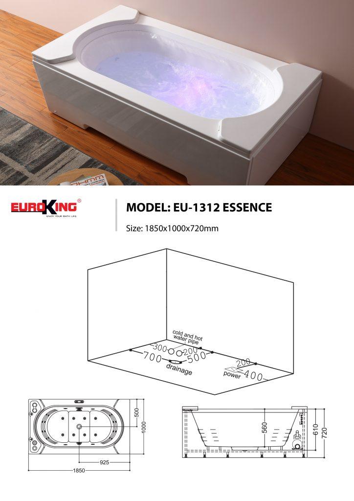 Sơ đồ kĩ thuật bồn tắm massage EU-1312 ESSENCE