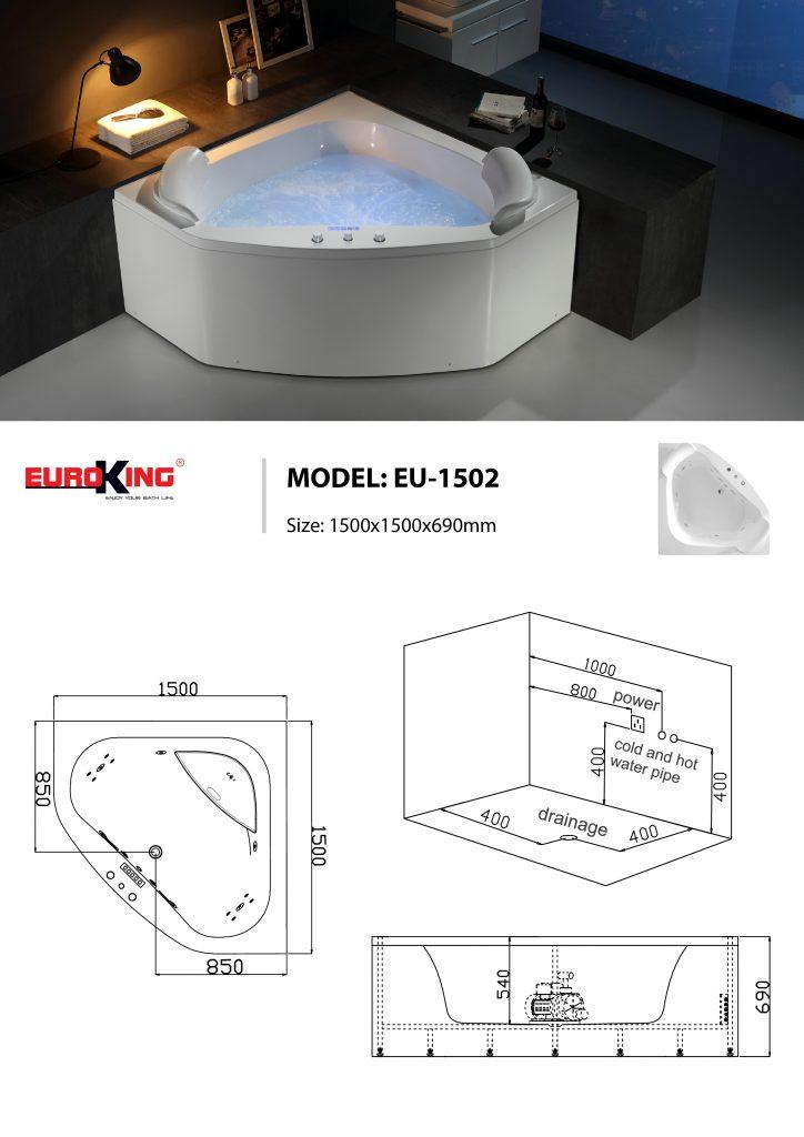 Sơ đồ kĩ thuật bồn tắm massage EU-1502