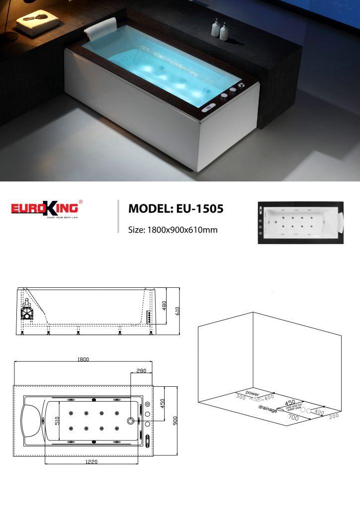 Bản vẽ kỹ thuật bồn tắm EU-1505