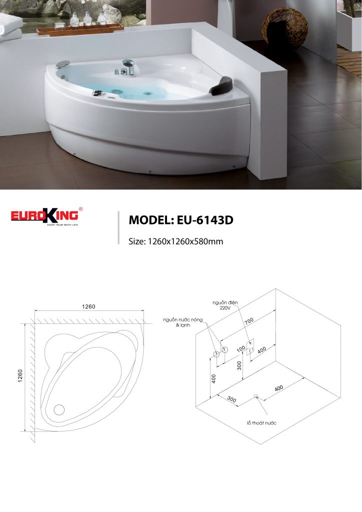 Bản vẽ kỹ thuật của bồn tắm massage Euroking EU-6143D