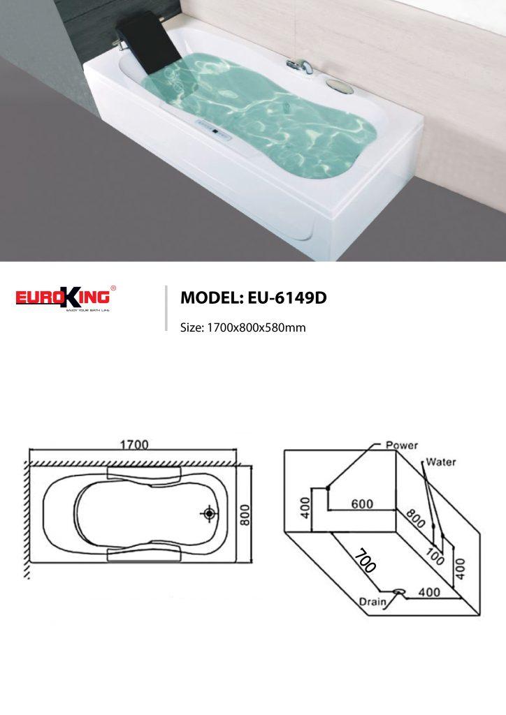 Bản vẽ kỹ thuật bồn tắm massage EU-6149D