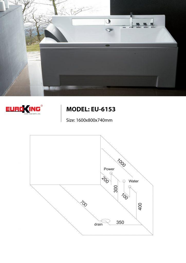 Bản vẽ kỹ thuật của bồn tắm massage EU-6153
