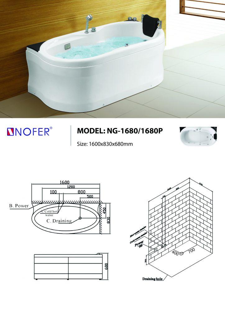 Bản vẽ kỹ thuật bồn tắm massage NG-1680