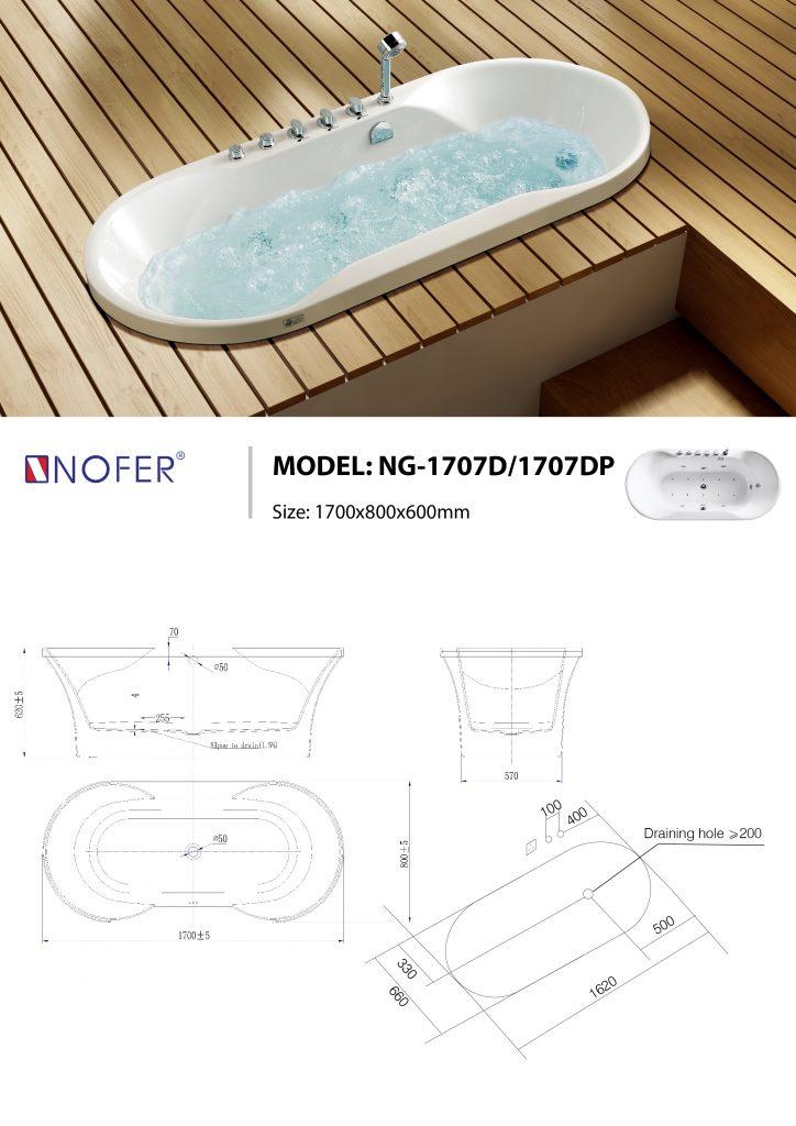Bản vẽ kỹ thuật bồn tắm massage NG-1707D