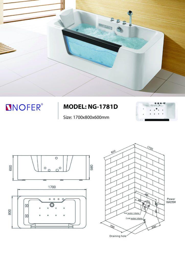 Bản vẽ kỹ thuật bồn tắm massage NG-1781D