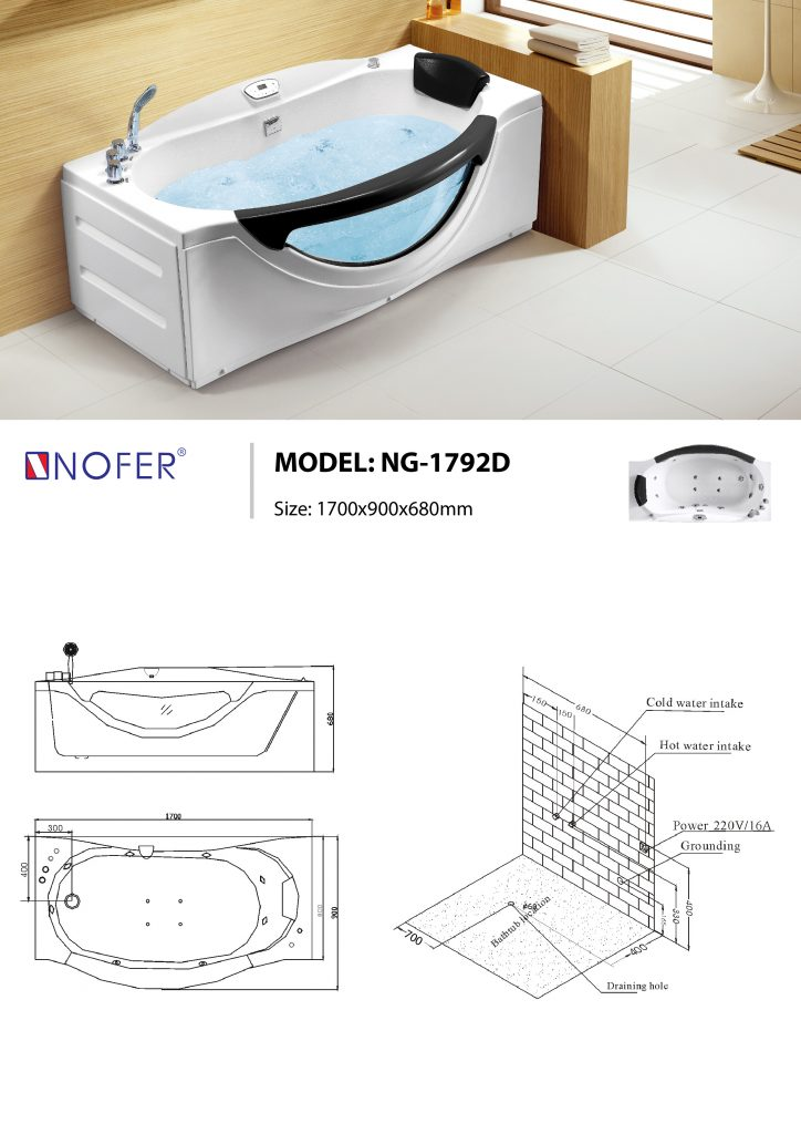 Sơ đồ kỹ thuật bồn tắm massage NG-1792D