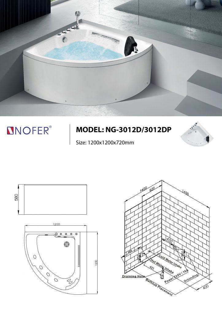 Sơ đồ kỹ thuật bồn tắm massage NG-3012D