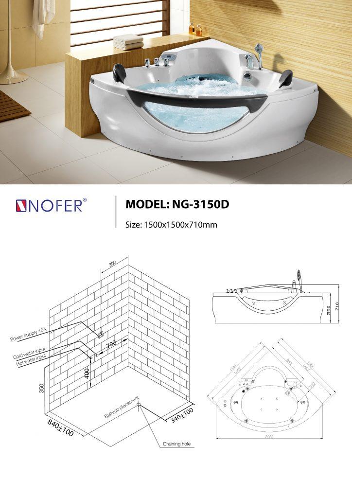 Sơ đồ kỹ thuật bồn tắm massage NG-3150D