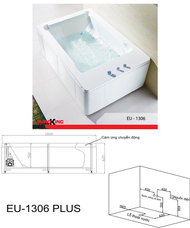 Bản vẽ kỹ thuật bồn tắm massage EU-1306 PLUS.