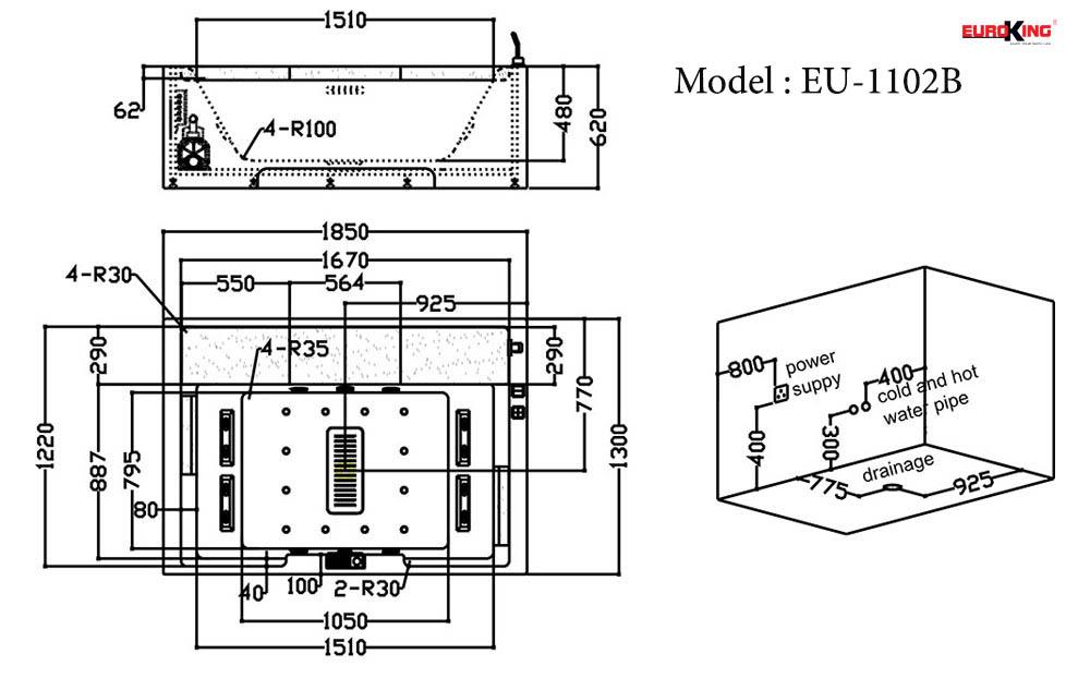 Bảng vẽ kỹ thuật của bồn tắm massage EU-1102B