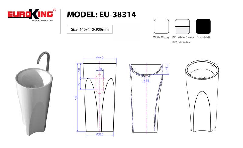 Sơ đồ kĩ thuật của lavabo EU-38314