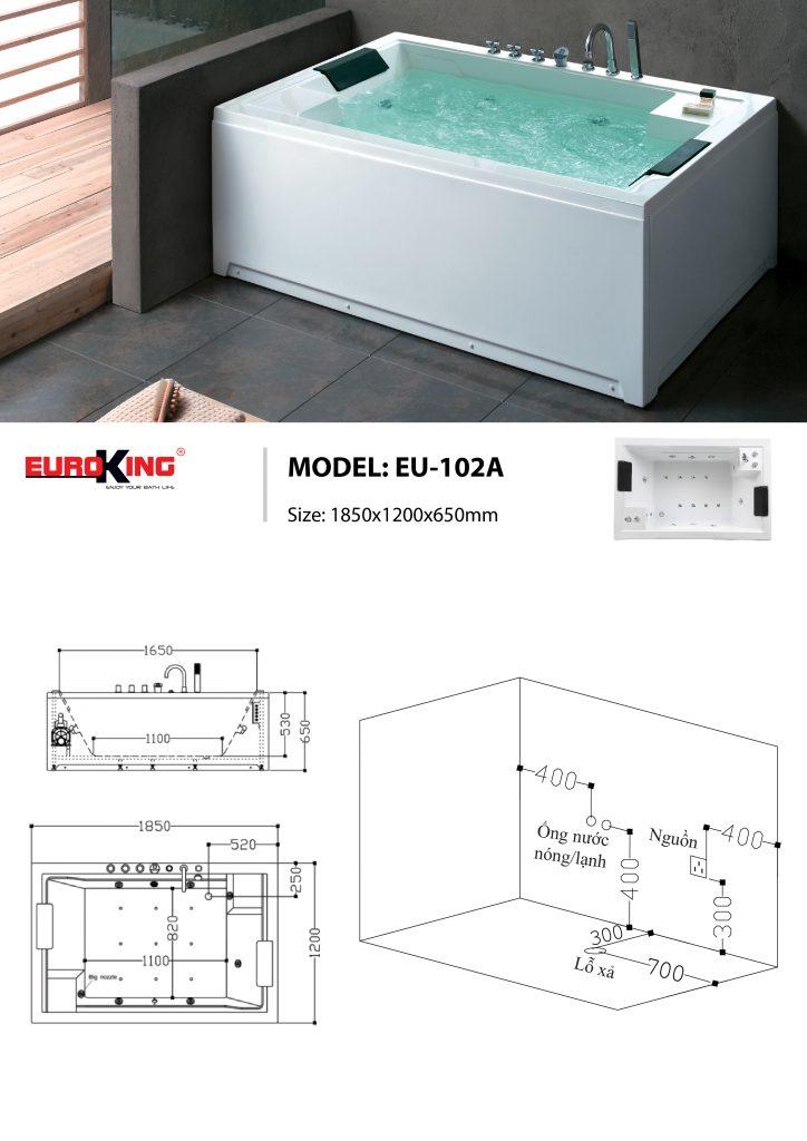 Bản vẽ sơ đồ kỹ thuật bồn tắm massage EU - 102A
