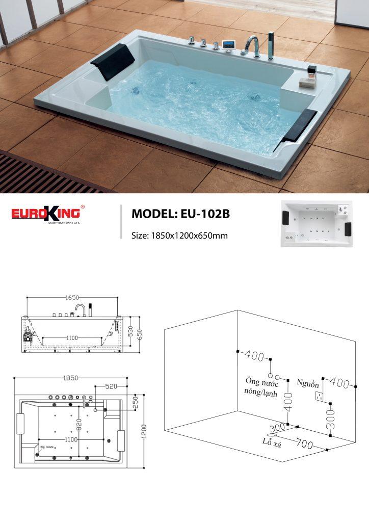 Bản vẽ sơ đồ kỹ thuật bồn tắm massage EU - 102B