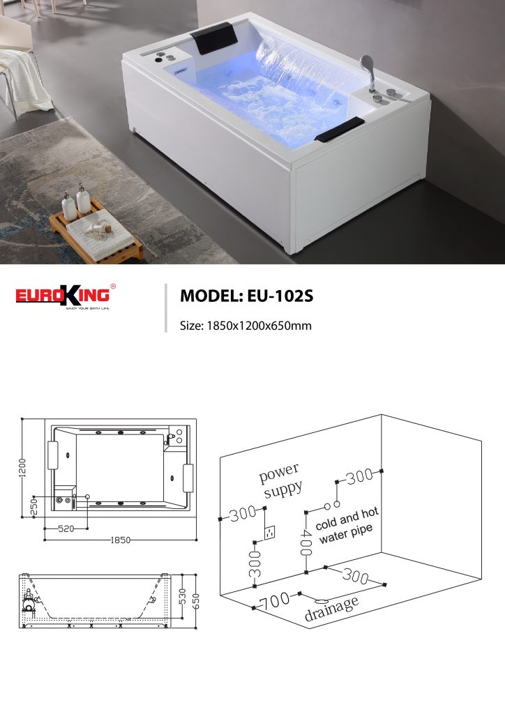 Sơ đồ kĩ thuật bồn tắm massage EU-102 SPRING