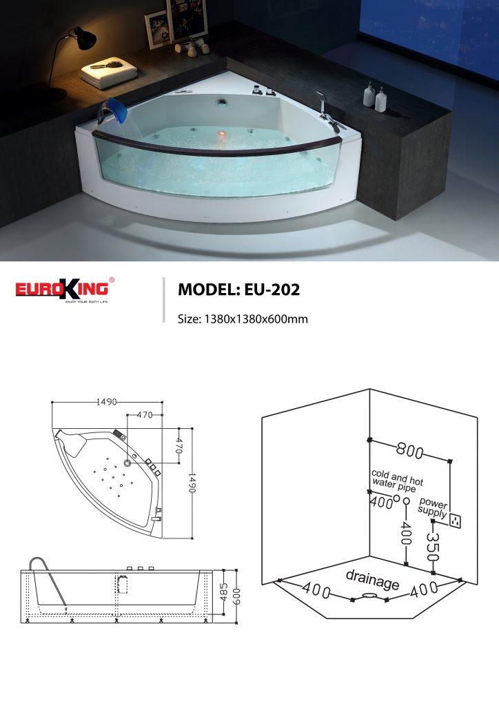 Bản vẽ sơ đồ kỹ thuật của bồn tắm massage EU - 202