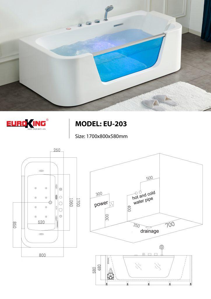 Sơ đồ kĩ thuật bồn tắm massage EU-203