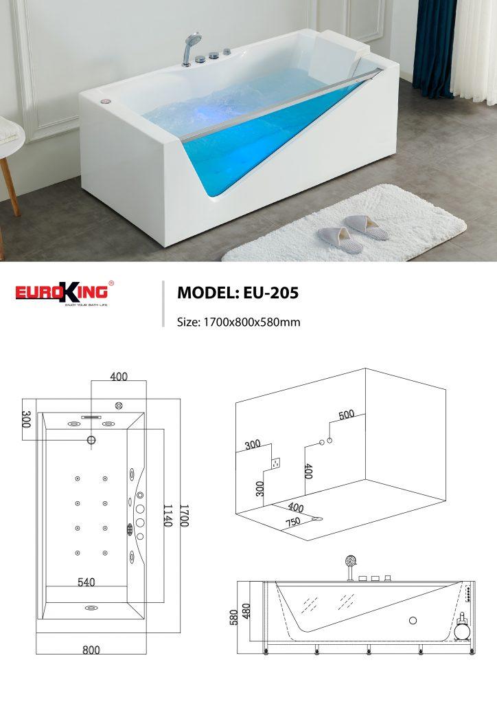 Sơ đồ kĩ thuật bồn tắm massage EU-205