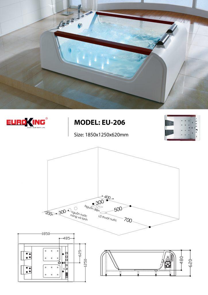 Bản vẽ sơ đồ kỹ thuật bồn tắm massage EU - 206