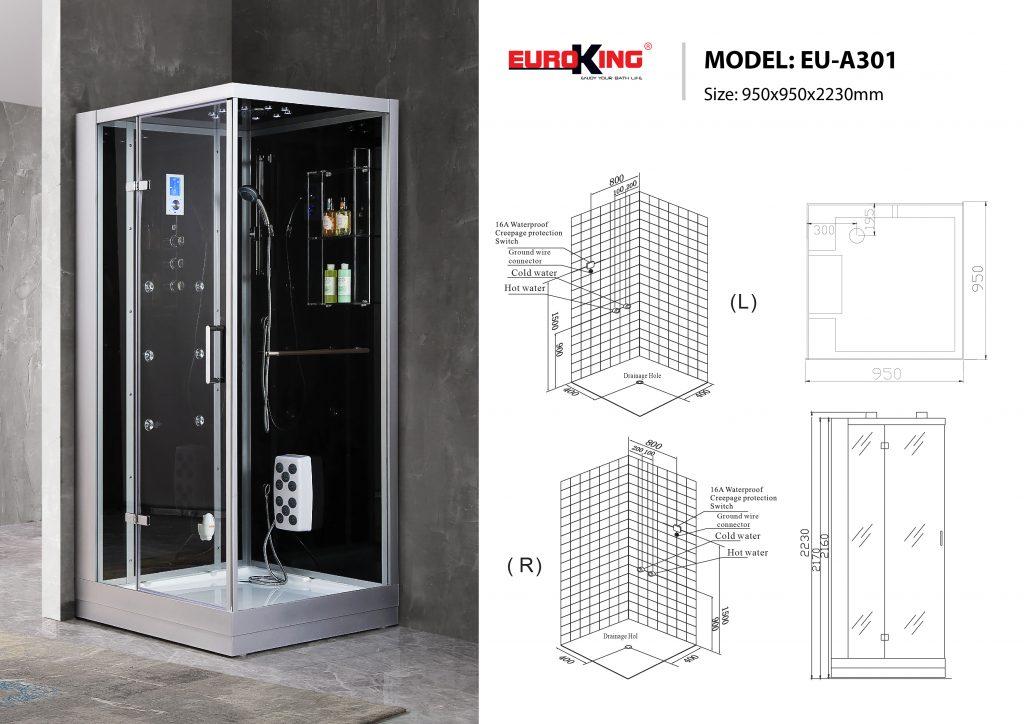 Bản vẽ sơ đồ kỹ thuật phòng xông hơi EU - A301