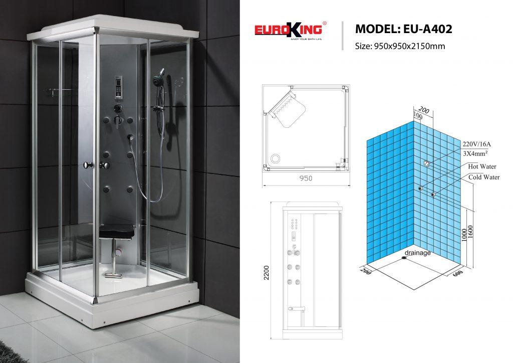 Bản vẽ sơ đồ kỹ thuật phòng xông hơi EU - A402