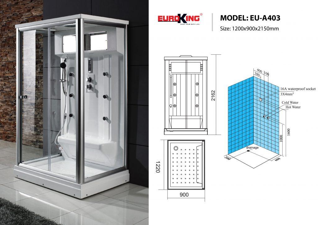 Bản vẽ sơ đồ kỹ thuật phòng xông hơi EU - A403