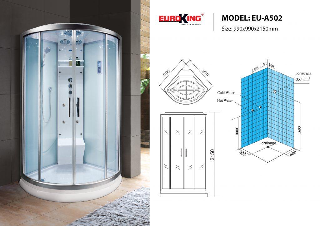 Bản vẽ sơ đồ kỹ thuật phòng xông hơi EU - A502