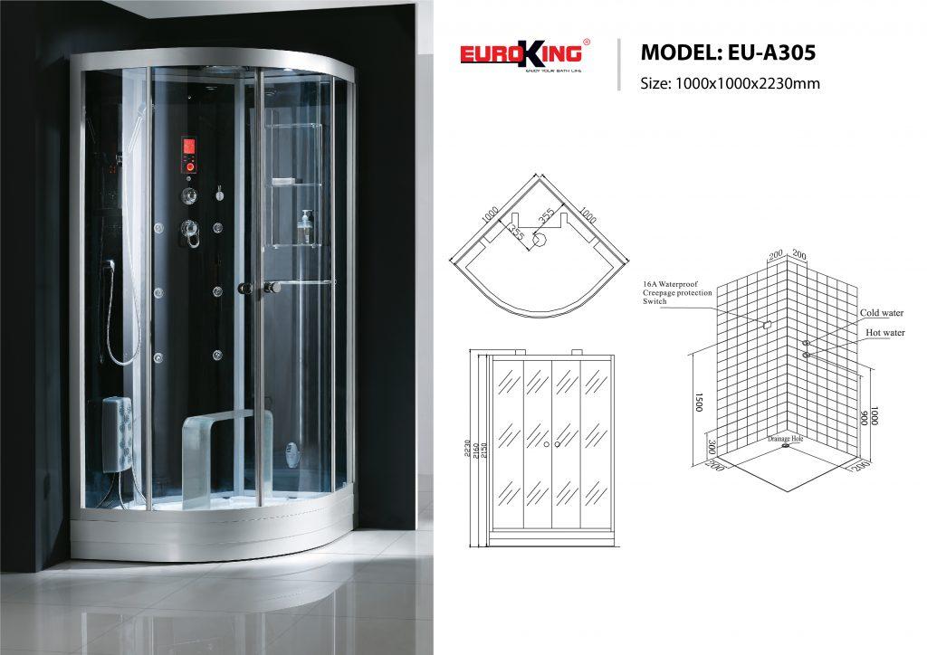 Bản vẽ sơ đồ kỹ thuật phòng xông hơi EU - A305
